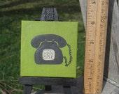Tiny Telephone - Mini Painting on Mini Easel nursery decor - kids - baby - children