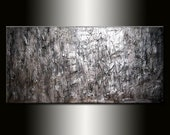 Original Abstract painting , rich TEXTURE METALLIC ABSTRACT , large 48x24 by Henry Parsinia