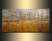 Original Modern Abstract Art ,rich texture Metallic Painting ,Gold ,Silver abstract by Henry Parsinia 48x24