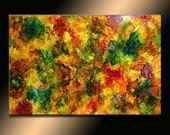 Original COLORFUL Modern Abstract painting Contemporary Fine Art by Henry Parsinia 36x24 large