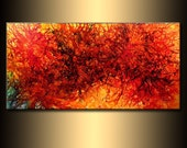 Original Modern Abstract painting Contemporary red Yellow And Black Wall Art On Canvas by Henry Parsinia Large 48x24