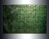 Original Textured Modern Metallic Olive Green Abstract Palette Knife Sculpture Painting by Henry Parsinia 36x24