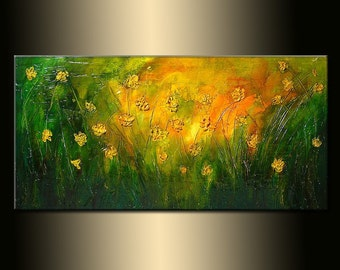 Original  Abstract painting Contemporary landscape rich textured green yellow orange by Henry Parsinia Large 48x24