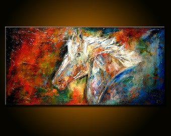on sale Original  Figurative Impressionism  Abstract Contemporary Fine Modern rich textured Painting by Henry Parsinia Large 48x24