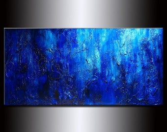 Original Modern Blue Acrylic Art on Canvas Thick Texture Abstract Painting by Henry Parsinia Large 48x24