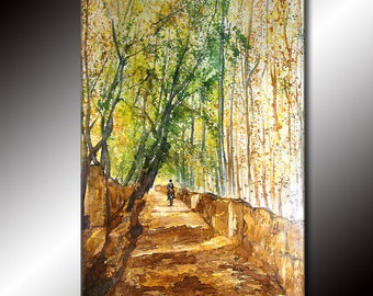 Original Landscape Pathway Tree Brown Green Gallery fine art painting by Henry Parsinia Large 36x24