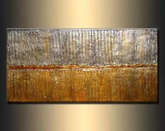 Texture metallic Painting Original Modern Abstract Art ,rich texture Metallic Painting ,Gold ,Silver abstract by Henry Parsinia 48x24