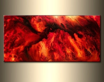 Abstract Modern Painting Contemporary Red, Yellow Fine Art by Henry Parsinia large 48x24