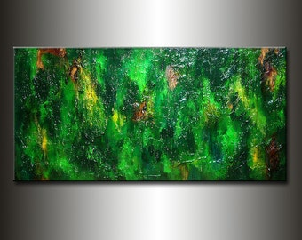 Abstract Painting, Original Green Contemporary Art, Modern Abstract Rich Textured fine art, by Henry Parsinia Large 48x24