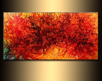 Original Modern Abstract painting Contemporary Red ,Yellow ,Black Wall Art On Canvas by Henry Parsinia Large 48x24