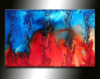 ORIGINAL Abstract Contemporary Fine Modern rich textured Painting by Henry Parsinia Large 36x24