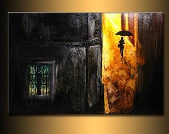Original impressionism Figurative Painting, Contemporary Fine Art, Rain walk Gallery Modern Art by Henry Parsinia Large 36x24