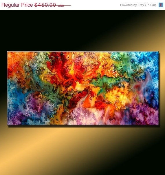 Special Holiday Sale %30 Original Abstract painting by Henry Parsinia Large 48x24