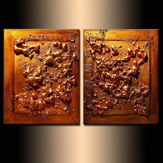 METALLIC Rich Texture Copper Original Abstract Painting By Henry Parsinia Large 32x20