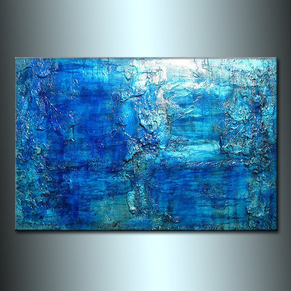 Original Thick Texture Blue Abstract Painting, Contemporary Modern fine art by Henry Parsinia Large 36x24