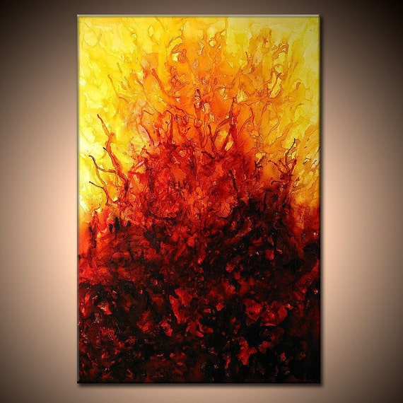 Original Modern Abstract Painting Contemporary Red, Yellow Fine Art by Henry Parsinia large 36x24