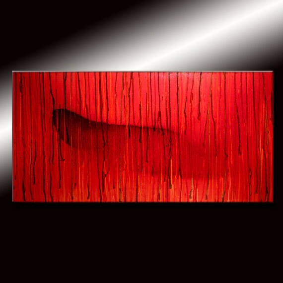 Abstract Painting, Original Modern RED Abstract contemporary Fine Art Painting by Henry Parsinia Large 48x24
