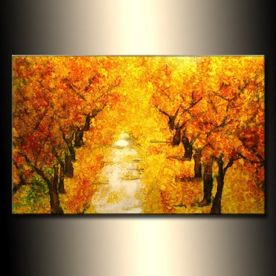Landscape Painting Autumn Colors Tree Pathway Abstract Painting Modern Contemporary Fine Art by Henry Parsinia Large 36x24
