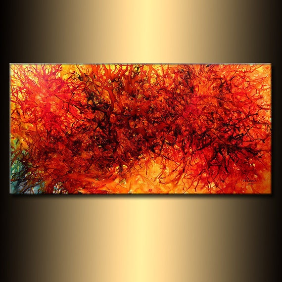 Modern Abstract, Original Abstract painting, Contemporary red Fine Art by Henry Parsinia Large 48x24