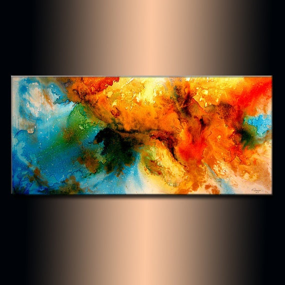Modern Abstract Painting ,original Canvas art ,Contemporary Fine Art by Henry Parsinia Large 48x24