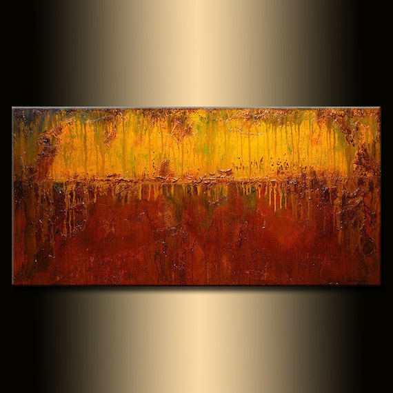 Large ORIGINAL Modern rich textured Painting, Brown yellow Palette Knife art by Henry Parsinia 48x24