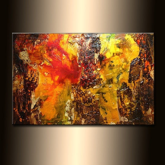 ORIGINAL Abstract Painting, ModernTextured Palette Knife Metallic Art by Henry Parsinia 36x24
