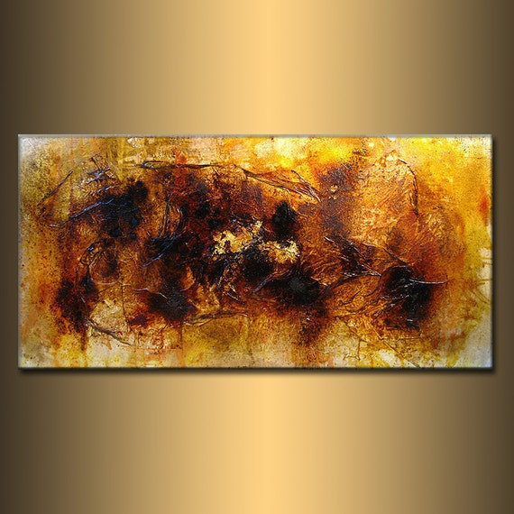 ORIGINAL Abstract Painting Contemporary Modern rich textured Yellow Brown Art by Henry Parsinia Large 48x24