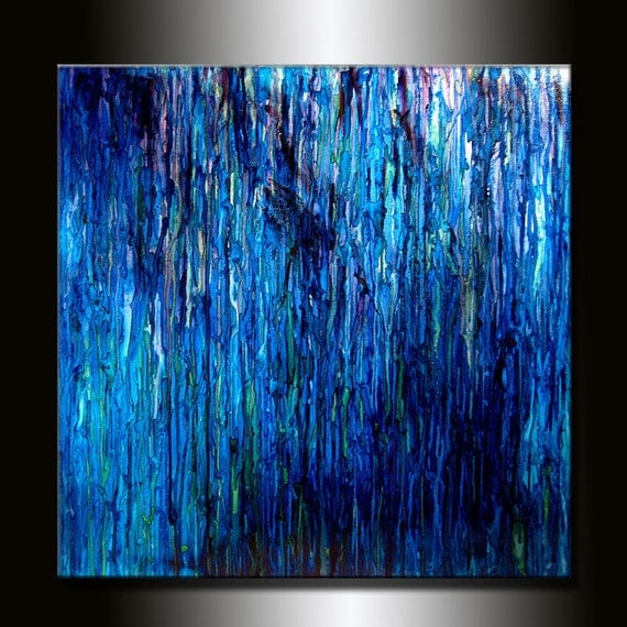 Interior Design Modern Blue Abstract Art Huge Original abstract Painting Contemporary Abstract Canvas Art by Henry Parsinia 48X48,