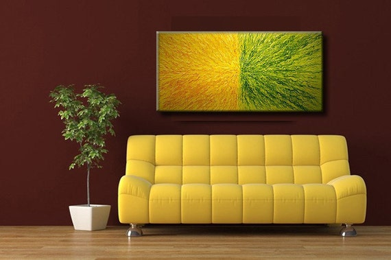 Original Modern Abstract Painting, Contemporary Yellow Green Fine Art by Henry Parsinia Large 48x24