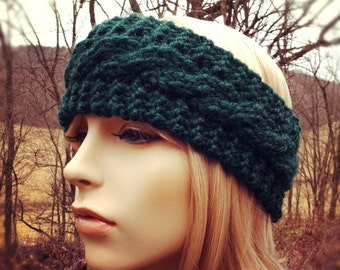 Chunky Cable Headband Earwarmer - Pine - MADE TO ORDER