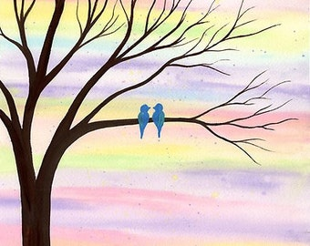 Tweet Love - Original watercolor painting