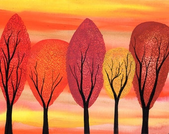 Golden Autumn - Original watercolour tree painting on watercolour paper