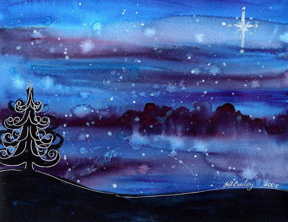 Noel - Original watercolor painting with Christmas theme