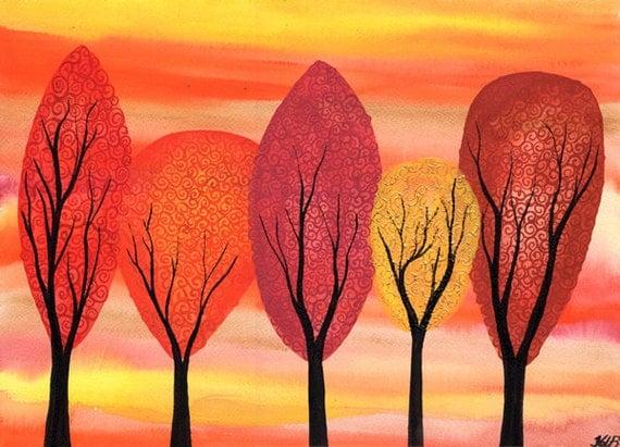 Golden Autumn - Original watercolour painting on watercolour paper