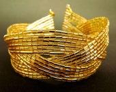 CUSTOM ORDER FOR CPEZZI, Golden Braided Cuff