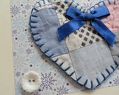 Old quilt Heart note greeting card thank you