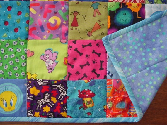 Mini I Spy quilt toddler boy girl colorful lovey take along game soft flannel back 49 different squares