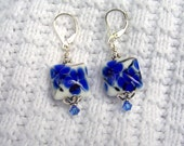 Royal Blue Floral Beaded Earrings - Artist Glass, Swarovski Crystal and Sterling Silver