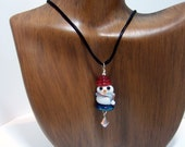 Snowman Satin Cord Necklace Pendant - Artisan Glass, Sterling Silver and Swarovski Crystal on Black Satin Cord