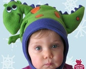 Cute Fleece DRAGON Kids Hat Sizes 8mo to 5yrs
