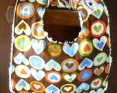 Amy Butler Hearts in a Row Reversible Chenille Bib & Burp Cloth Set - Ready to Ship
