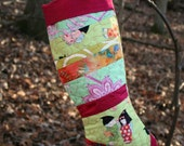Cherry Blossom Princess Pink & Green Scrappy Patchwork Quilted Christmas Stocking