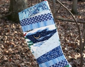 Winter Woodland Wonderland Scrappy Patchwork Quilted Christmas Stocking