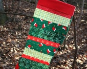 Ho Ho Ho Red & Green Scrappy Patchwork Quilted Christmas Stocking