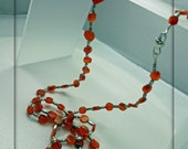Carnelian and Silver Long Necklace reserved for Katie Caruthers until June 12th