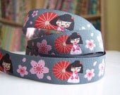 SUPER SALE.... Miss Ling in Grey - Farbenmix Ribbon 3 yds total