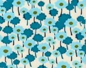 SALE.....20% OFF  Poppies in Aqua, Nancy Mims, Pick A Bunch Organic, Robert Kaufman last 1/2 Yard