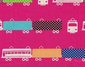 Trains in Raspberry/Pink, Echino Ni-Co Fabric Spring 2011, End of Bolt