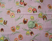 YARD SALE....Japanese Fabric - Kawaii Winking Owls in PINK 1 yd total