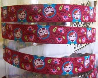 Russian Babushka Stacking Dolls - Farbenmix Ribbon - 1 yard FREE Shipping with fabric purchase